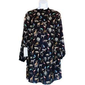 Zara Basic Long Sleeve Zoo Animal Print Mini Dress